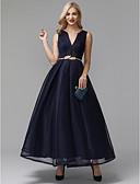 Χαμηλού Κόστους Φορέματα Χορού Αποφοίτησης-Γραμμή Α Λαιμόκοψη V Μέχρι τον αστράγαλο Spandex Κομψό / Μινιμαλιστική Κοκτέιλ Πάρτι / Χοροεσπερίδα Φόρεμα 2020 με Ζώνη / Κορδέλα