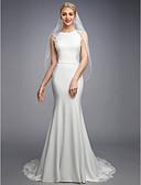 זול שמלות כלה-בתולת ים \ חצוצרה בטו צוואר שובל קורט שיפון / תחרה שמלות חתונה עם אפליקציות / כפתורים / תחרה על ידי LAN TING BRIDE® / גב מהמם