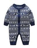 זול אוברולים טריים לתינוקות לבנים-אוברול וסרבל כותנה שרוול ארוך דפוס בסיסי בנים תִינוֹק / פעוטות