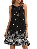 baratos Camisas Femininas-Mulheres Para Noite Reto Vestido - Estampado, Gráfico Acima do Joelho