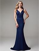 Χαμηλού Κόστους Βραδινά Φορέματα-Τρομπέτα / Γοργόνα Βυθίζοντας το λαιμό Ουρά Σιφόν Όμορφη Πλάτη / Κομψό Επίσημο Βραδινό Φόρεμα 2020 με Χάντρες / Με διαδοχικές σούρες