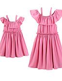 povoljno Obiteljski komplet odjeće-Dijete koje je tek prohodalo Mama i mene Aktivan slatko Dnevno Praznik Jednobojni Naborano Kratkih rukava Iznad koljena Haljina Blushing Pink