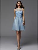 Χαμηλού Κόστους Φορέματα κοκτέιλ-Γραμμή Α Με Κόσμημα Κοντό / Μίνι Δαντέλα / Τούλι χαριτωμένο στυλ / Χρώματα Pastel Κοκτέιλ Πάρτι / Καλωσόρισμα Φόρεμα 2020 με Χάντρες