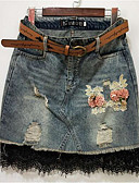 olcso Női szoknyák-Női Bodycon Alkalmi Mini Szoknyák - Virágos Csipke Magas derék Csipke Virágos Medence S M