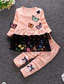 povoljno Kompletići za bebe-Dijete Djevojčice Ležerne prilike Dnevno Jednobojni Dugih rukava Regularna Pamuk Komplet odjeće Blushing Pink / Dijete koje je tek prohodalo