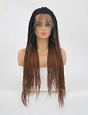 Χαμηλού Κόστους Πέπλα Γάμου-Πλεξούδες Twist Συνθετικές μπροστινές περούκες δαντέλας Ματ Πλεξίδα Δαντέλα Μπροστά Περούκα Μακρύ Μαύρο / Medium Auburn Συνθετικά μαλλιά Γυναικεία Ανθεκτικό στη Ζέστη Σκούρο Καφέ
