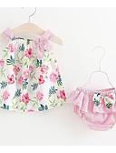billige Sett med babyklær-Baby Jente Aktiv Daglig Blomstret Trykt mønster Ermeløs Normal Bomull Tøysett Blå