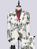povoljno Muške košulje-Muškarci odijela, Jednobojni Klasični rever Poliester Obala / Crn / Slim