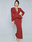 Χαμηλού Κόστους Print Dresses-Γυναικεία Μεγάλα Μεγέθη Δουλειά Κομψό στυλ street Εκλεπτυσμένο Λεπτό Εφαρμοστό Θήκη Φόρεμα - Μονόχρωμο, Peplum Πλισέ Σκίσιμο Μακρύ Ψηλή Μέση Βαθύ V / Sexy