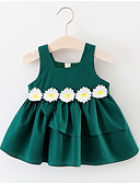 Χαμηλού Κόστους Βρεφικά φορέματα-Μωρό Κοριτσίστικα Ενεργό Γεωμετρικό Αμάνικο Βαμβάκι Φόρεμα Πράσινο του τριφυλλιού / Νήπιο