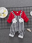 זול סטים של ביגוד לתינוקות-סט של בגדים פשתן שרוולים קצרים קפלים אחיד / גיאומטרי שחור ואדום וינטאג' יוניסקס תִינוֹק / פעוטות