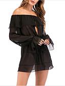 זול ביקיני ובגדי ים-סירה רחב מיני אחיד - שמלה שחורה וקטנה רזה Party ליציאה בגדי ריקוד נשים / סירה מתחת לכתפיים / קפלים / סקסית