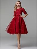 Χαμηλού Κόστους Φορέματα Χορού Αποφοίτησης-Γραμμή Α Με Κόσμημα Μέχρι το γόνατο Δαντέλα / Τούλι Κομψό Κοκτέιλ Πάρτι / Χοροεσπερίδα Φόρεμα 2020 με Διακοσμητικά Επιράμματα