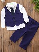 baratos Vestidos para as Mães dos Noivos-Infantil Para Meninos Básico Moda de Rua Diário Feriado Sólido Taxas Manga Longa Padrão Conjunto Azul