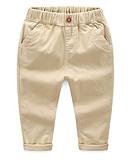 hesapli Erkek Çocuk Pantolonları-Çocuklar Genç Erkek Temel Günlük Solid Pamuklu Pantolon Koyu Mavi