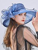 ราคาถูก หมวกสตรี-สำหรับผู้หญิง Kentucky Derby ลายต่อ ลูกไม้ ระบาย,ปาร์ตี้ วันหยุด-หมวกบัคเก็ต หมวกปีกกว้าง หมวกสาน ทุกฤดู สีบานเย็น ไวน์ สีน้ำตาลอ่อน