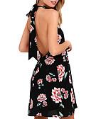 זול שמלות מיני-מעל הברך גב חשוף דפוס, פרחוני גיאומטרי - שמלה שיפון בוהו סגנון רחוב בגדי ריקוד נשים