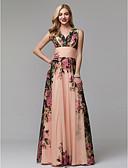 ราคาถูก ชุดเพื่อนเจ้าสาว-A-line คอวี ลากพื้น ชิฟฟอน Prom แต่งตัว กับ แพทเทิร์นหรือลายพิมพ์ / จับจีบ โดย TS Couture®