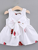 baratos Vestidos para Bebês-bebê Para Meninas Activo Diário Floral Bordado Sem Manga Padrão Acima do Joelho Algodão Vestido Branco / Bébé