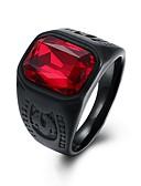 ราคาถูก เสื้อโปโลสำหรับผู้ชาย-สำหรับผู้ชาย วงแหวน แหวนตรา 1pc แดง แก้ว สแตนเลส รูปร่างวงกลม Geometric Shape วินเทจ Punk ทุกวัน Street เครื่องประดับ สไตล์วินเทจ 3D เล่นไพ่คนเดียว Creative เท่ห์
