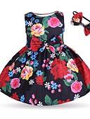 זול שמלות לתינוקות-שמלה כותנה ללא שרוולים פרחוני פעיל / בסיסי בנות תִינוֹק / פעוטות