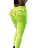 olcso Leggingek-Női Napi Sportos Legging - Egyszínű, Fodrozott Közepes csípő Fehér Fekete Sárga S M L