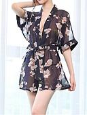 ราคาถูก เสื้อคลุมและชุดนอน-สำหรับผู้หญิง ลายพิมพ์ Sexy เสื้อคลุม เสื้อนอน ลายพิมพ์ สีน้ำเงิน L XL XXL