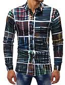 povoljno Muške košulje-Majica Muškarci - Osnovni Dnevno / Vikend Pamuk Karirani uzorak Print Duga / Dugih rukava