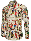 ราคาถูก เสื้อเชิ้ตผู้ชาย-สำหรับผู้ชาย เชิร์ต ลายพิมพ์ รูปเรขาคณิต / การ์ตูน / Tribal สีกากี / แขนยาว / ฤดูใบไม้ผลิ