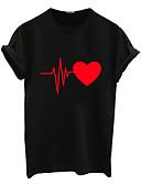 baratos Camisetas Femininas-Mulheres Camiseta Geométrica Algodão Branco