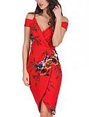 Χαμηλού Κόστους Επαγγελματικά Φορέματα-Γυναικεία Αργίες Εξόδου Σέξι Λεπτό Θήκη Φόρεμα - Φλοράλ, Στάμπα Wrap Ως το Γόνατο Ώμοι Έξω