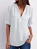 baratos Blusas Femininas-Mulheres Camiseta Sólido Algodão Decote V