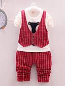 cheap Boys' Clothing Sets-Baby Boys' Casual / Basic Daily / Sports Black & White Check Long Sleeve Regular Regular Cotton Clothing Set Red / Toddler