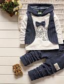 זול אוברולים טריים לתינוקות לבנים-סט של בגדים כותנה שרוול ארוך טלאים משובץ דמקה שחור ואדום ספורט יום יומי / בסיסי בנים תִינוֹק / פעוטות