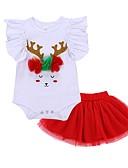 cheap Baby Girls' Clothing Sets-Baby Girls' Casual / Basic Christmas / Daily / Holiday Print / Christmas Mesh / Print Short Sleeve Regular Regular Cotton Clothing Set Red / Toddler