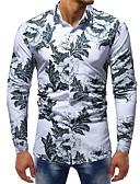 baratos Camisas Masculinas-Homens Tamanhos Grandes Camisa Social Básico Estampado, Floral / Estampa Colorida Algodão Delgado Branco / Manga Longa