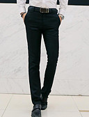 ราคาถูก กางเกงผู้ชาย-สำหรับผู้ชาย พื้นฐาน ขนาดพิเศษ ทุกวัน ทำงาน เพรียวบาง สูท / กางเกง Chinos กางเกง - สีพื้น สีดำ ไวน์ สีฟ้า M L XL