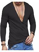 billiga Exotiska herrunderkläder-Enfärgad Linne T-shirt - Grundläggande Herr Vit / Långärmad
