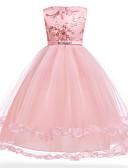 povoljno Haljine za djevojčice-Djeca Djevojčice Osnovni slatko Party Izlasci Jednobojni Bez rukávů Maxi Haljina Blushing Pink / Pamuk