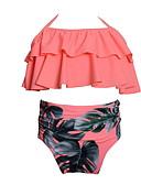 ราคาถูก ชุดว่ายน้ำผู้หญิง-Toddler เด็กผู้หญิง ชายหาด ลายดอกไม้ ลายพิมพ์ ชุดว่ายน้ำ สีแดงชมพู