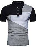 baratos Camisas Masculinas-Homens Polo Básico Estampa Colorida Colarinho de Camisa Preto / Manga Curta / Verão