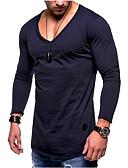 povoljno Muške majice i potkošulje-Majica s rukavima Muškarci - Osnovni Dnevno Pamuk Jednobojni Crn / Dugih rukava