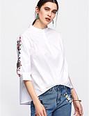 billige Bluser-Bomull Crew-hals Skjorte Dame - Ensfarget / Blomstret Grunnleggende Blå / Sommer