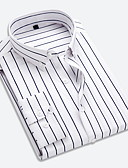 cheap Men's Tees & Tank Tops-Men's Daily Work Business / Basic Shirt - Striped Classic Collar Red / Long Sleeve