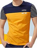 ราคาถูก เสื้อยืดและเสื้อกล้ามผู้ชาย-สำหรับผู้ชาย ขนาดพิเศษ เสื้อเชิร์ต ฝ้าย ลายต่อ คอกลม ลายแถบ / ลายบล็อคสี สีเหลือง / แขนสั้น