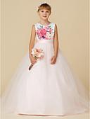 Χαμηλού Κόστους Λουλουδάτα φορέματα για κορίτσια-Πριγκίπισσα Ουρά Φόρεμα για Κοριτσάκι Λουλουδιών - Σατέν / Τούλι Αμάνικο Με Κόσμημα με Ζώνη / Κορδέλα / Εμπριμέ