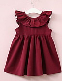 זול שמלות לבנות-שמלה עד הברך ללא שרוולים קפלים אחיד בסיסי בנות ילדים