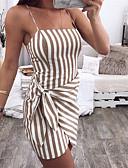 billige Kjoler med trykk-Dame Ut på byen Bohem Gatemote Tynn Skjede Kjole - Stripet, Multi Layer Wrap Med stropper Mini / Sexy