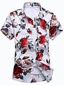 ราคาถูก เสื้อเชิ้ตผู้ชาย-สำหรับผู้ชาย ขนาดพิเศษ เชิร์ต พื้นฐาน ฝ้าย ลายพิมพ์ เพรียวบาง ลายดอกไม้ Crane สีน้ำเงิน / แขนสั้น / ฤดูร้อน