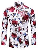 billige Eksotisk herreundertøy-Bomull Tynn Store størrelser Skjorte Herre - Blomstret, Trykt mønster Vintage / Grunnleggende Blå / Langermet